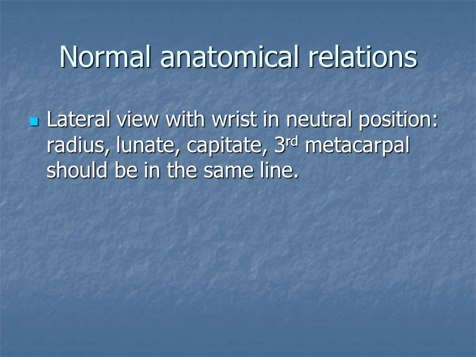 Normal anatomical relations