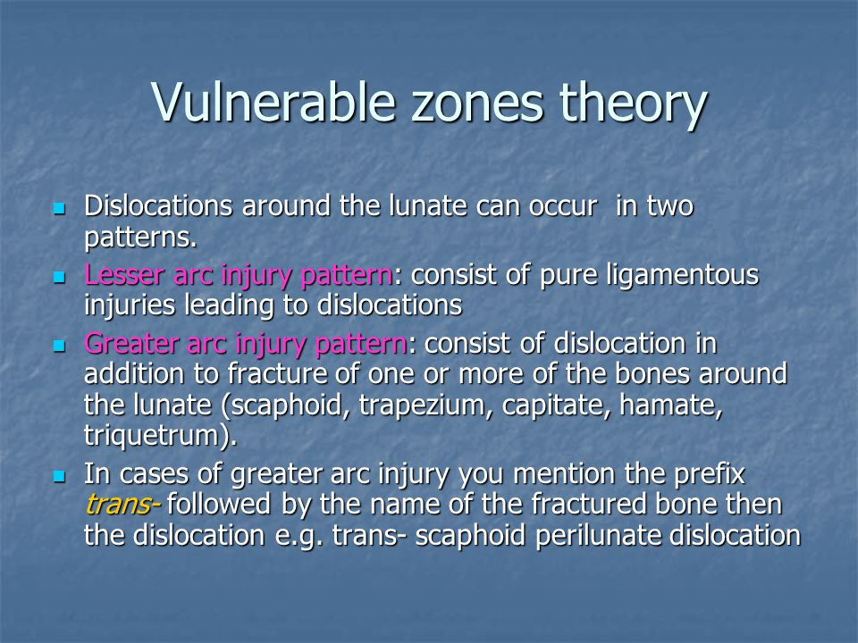Vulnerable zones theory
