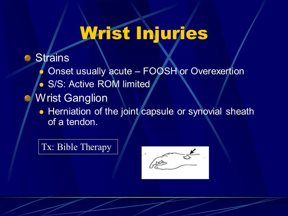 Wrist Injuries Strains Wrist Ganglion