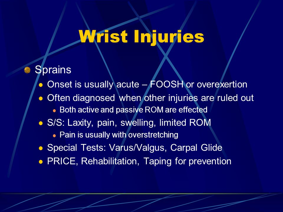 Wrist Injuries Sprains Onset is usually acute – FOOSH or overexertion