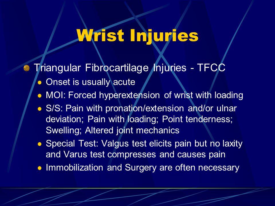 Wrist Injuries Triangular Fibrocartilage Injuries - TFCC