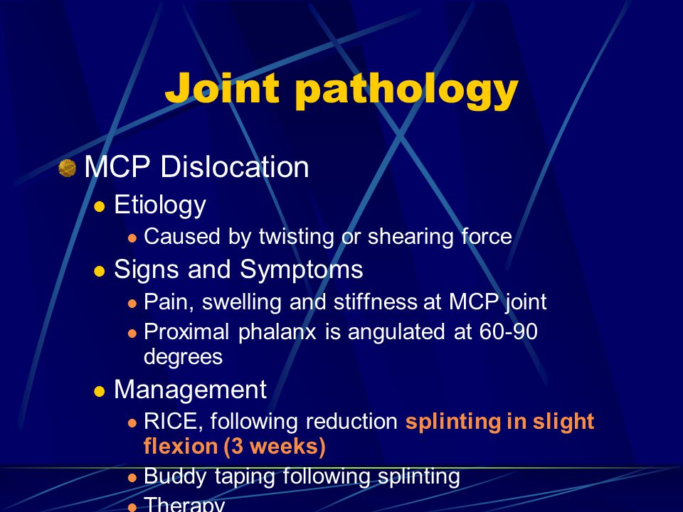 Joint pathology MCP Dislocation Etiology Signs and Symptoms Management