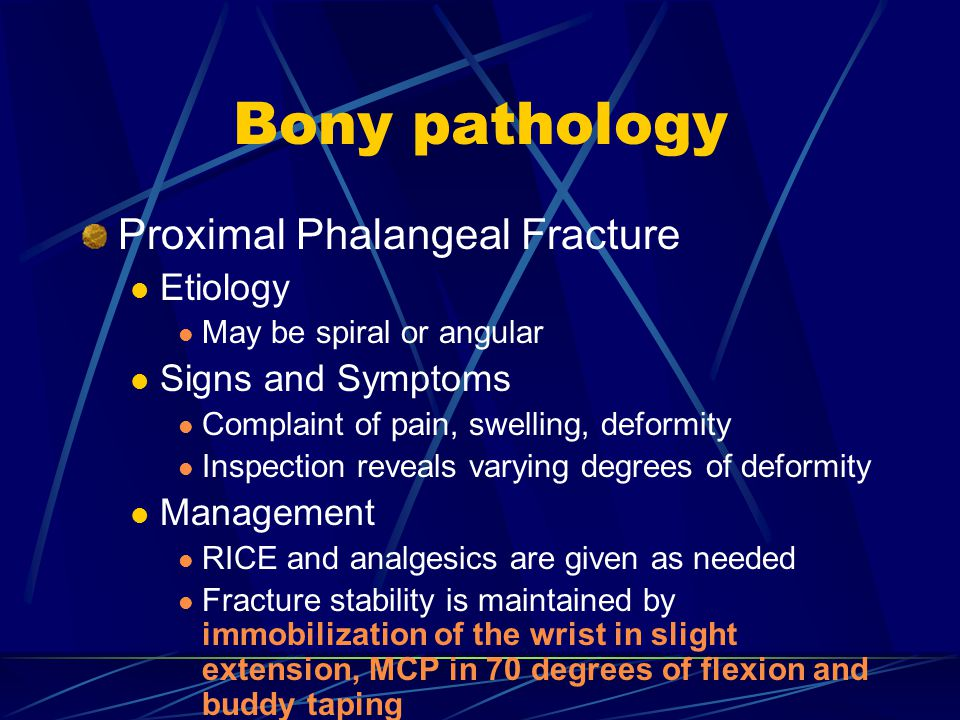 Bony pathology Proximal Phalangeal Fracture Etiology