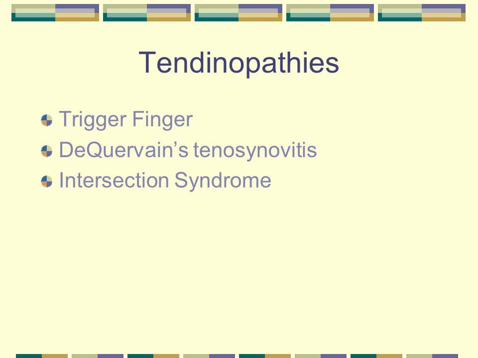 Tendinopathies Trigger Finger DeQuervain's tenosynovitis