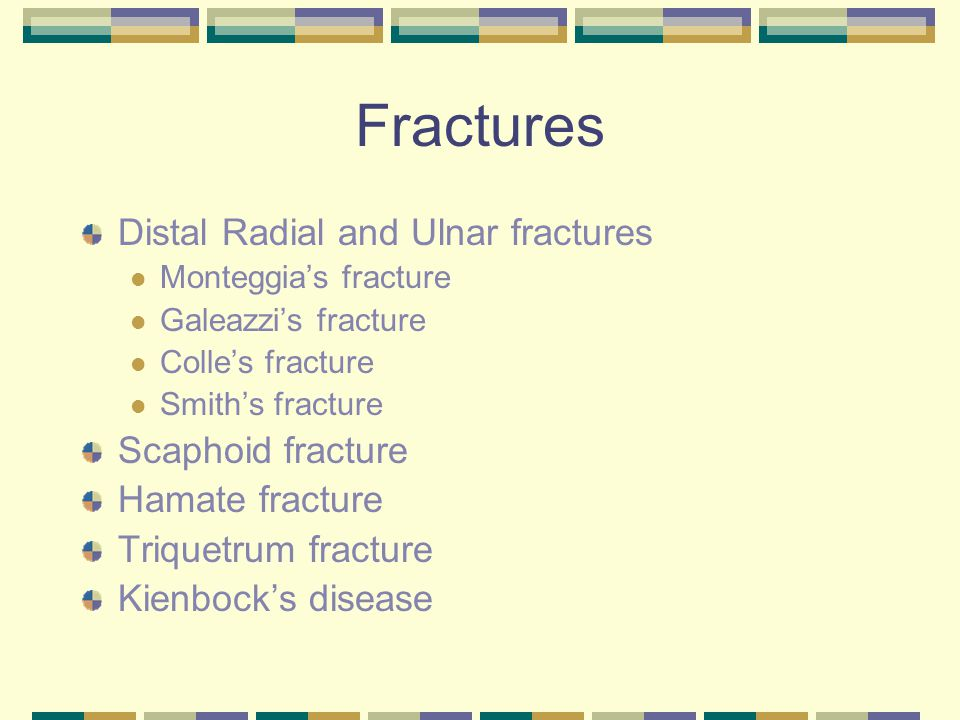 Fractures Distal Radial and Ulnar fractures Scaphoid fracture