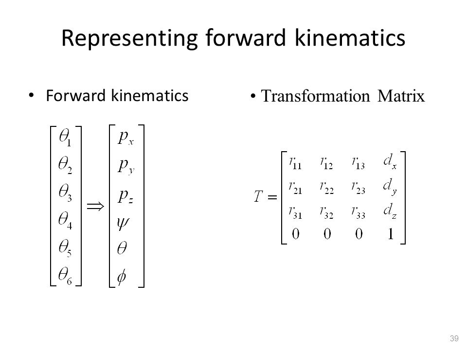 Representing forward kinematics