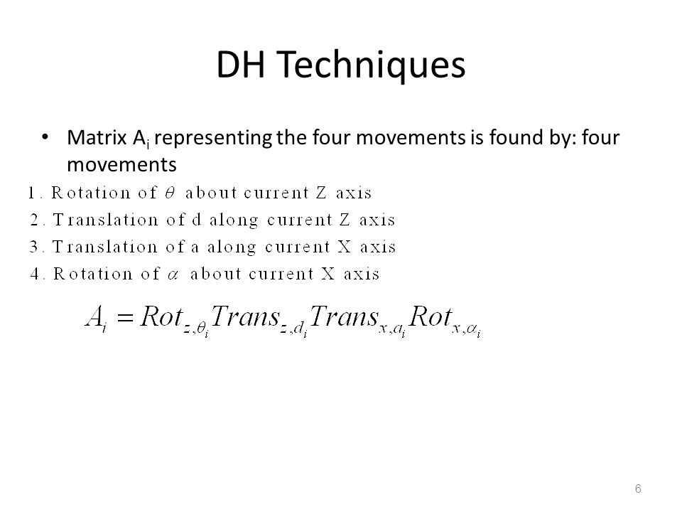 DH Techniques Matrix Ai representing the four movements is found by: four movements