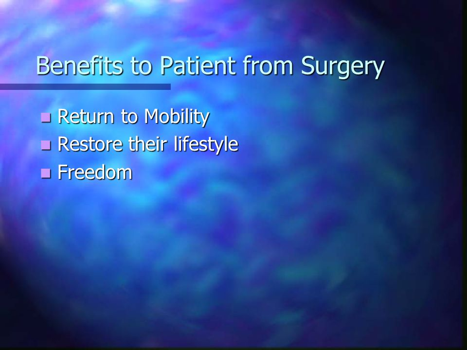 Benefits to Patient from Surgery