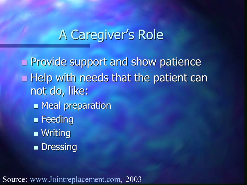 A Caregiver's Role Provide support and show patience
