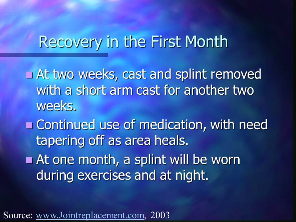 Recovery in the First Month