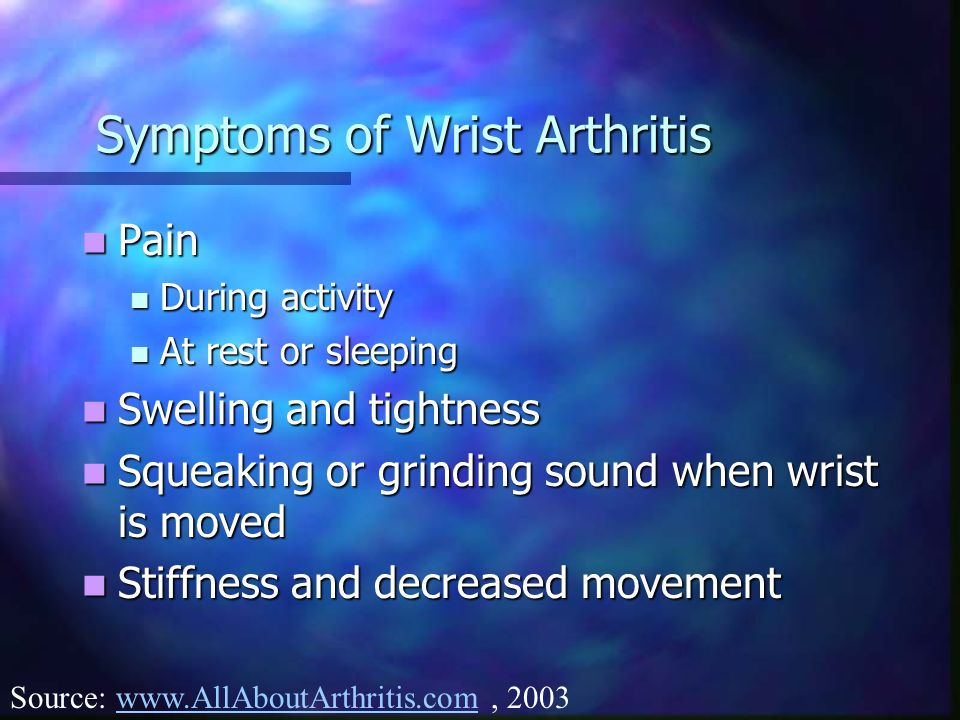 Symptoms of Wrist Arthritis