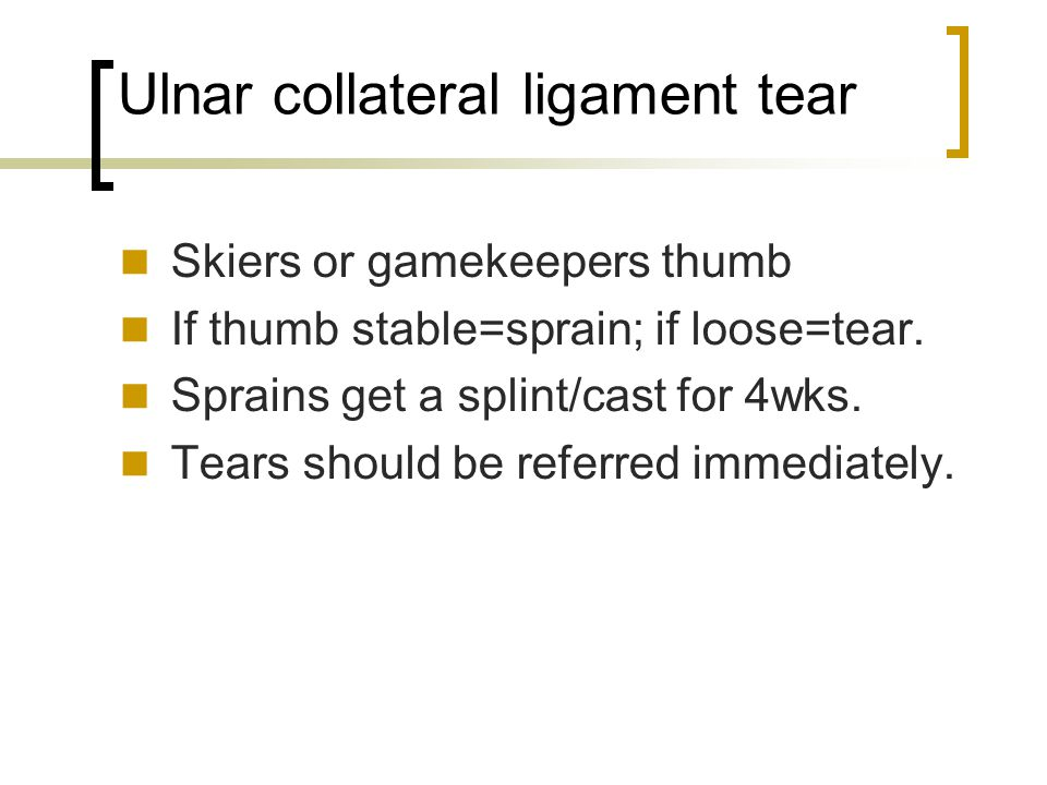 Ulnar collateral ligament tear