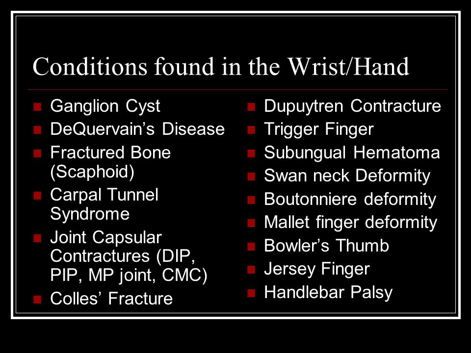 Conditions found in the Wrist/Hand