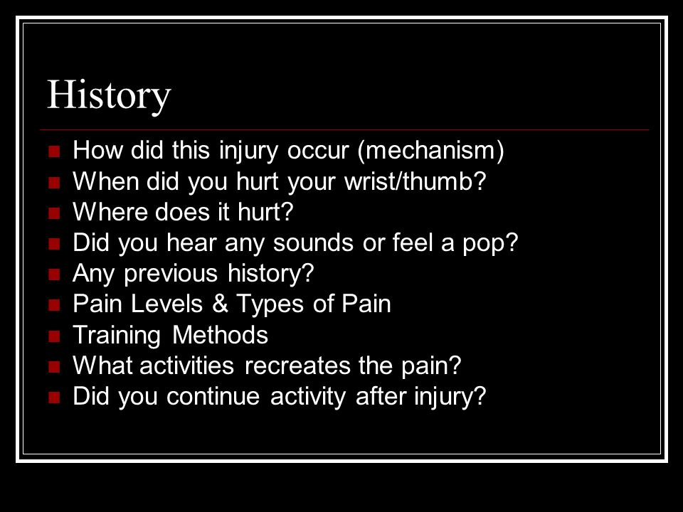 History How did this injury occur (mechanism)