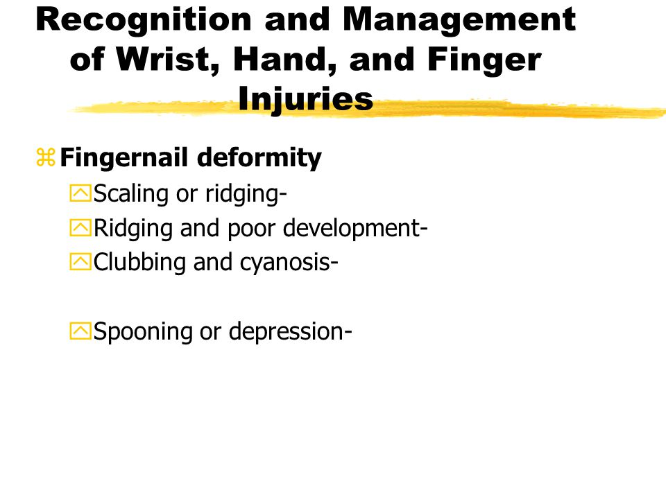 Recognition and Management of Wrist, Hand, and Finger Injuries