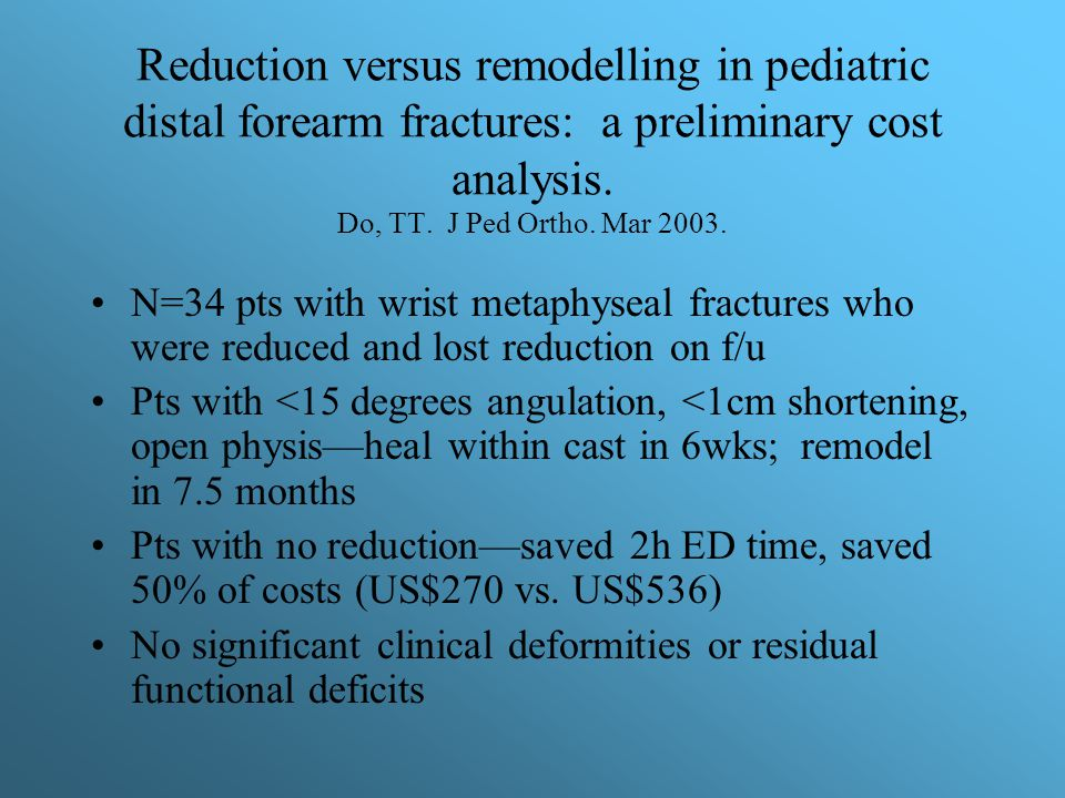 Reduction versus remodelling in pediatric distal forearm fractures: a preliminary cost analysis. Do, TT. J Ped Ortho. Mar 2003.