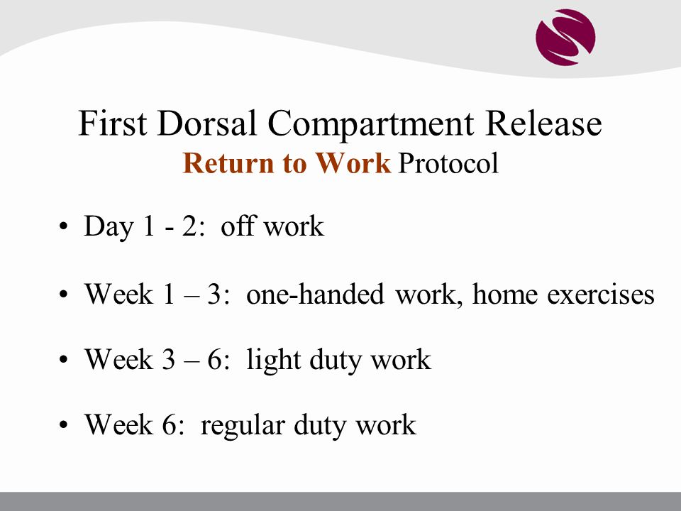 First Dorsal Compartment Release Return to Work Protocol