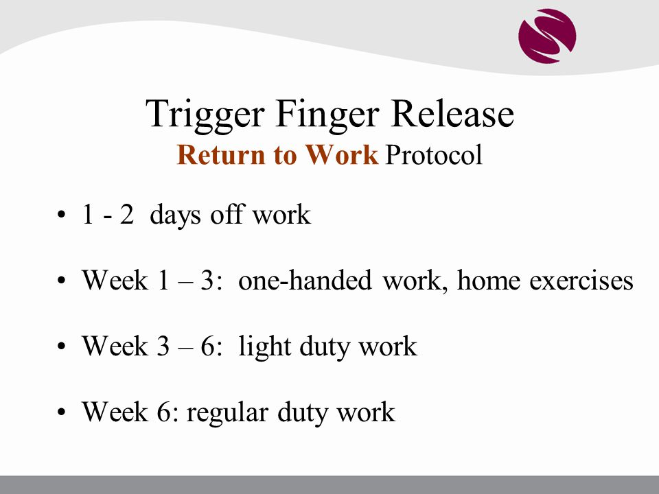 Trigger Finger Release Return to Work Protocol