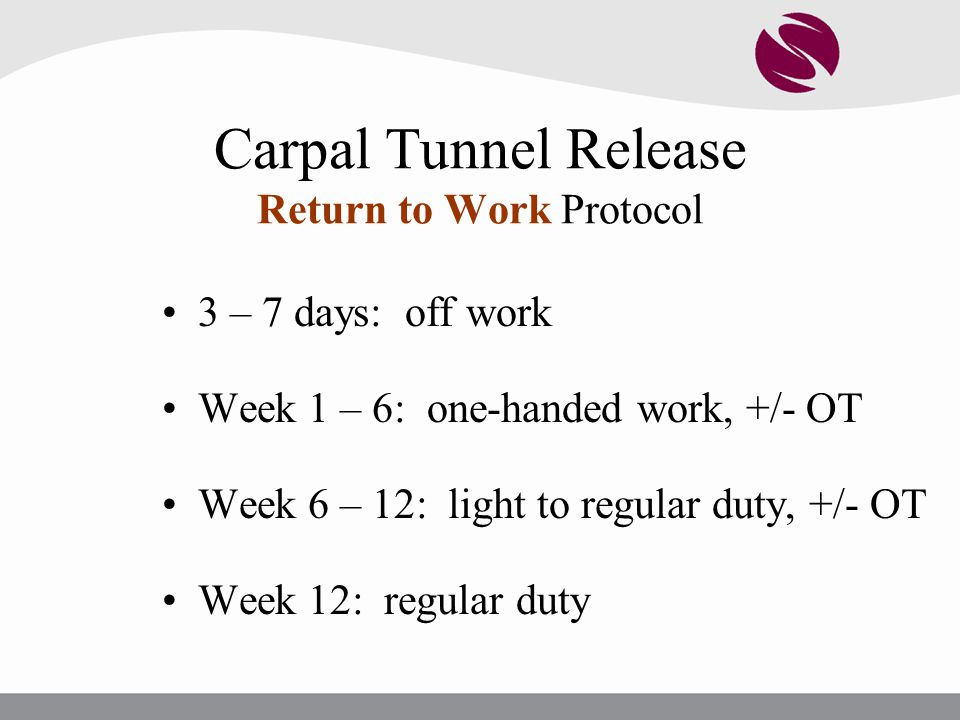 Carpal Tunnel Release Return to Work Protocol