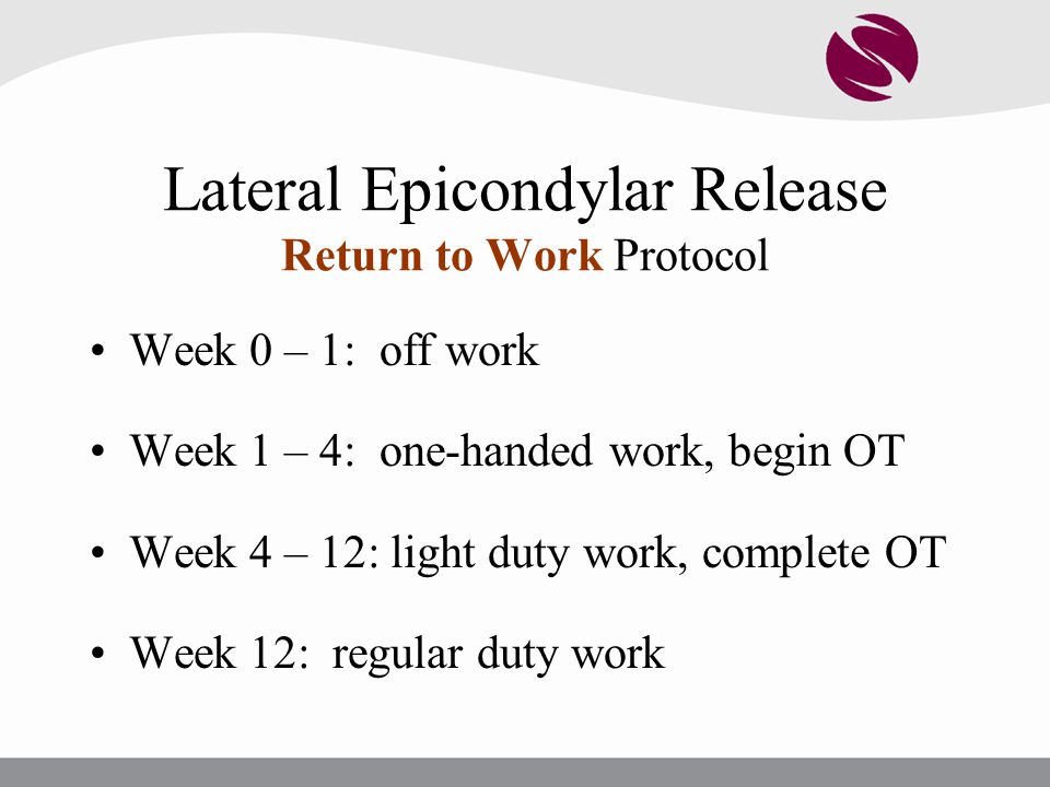 Lateral Epicondylar Release Return to Work Protocol