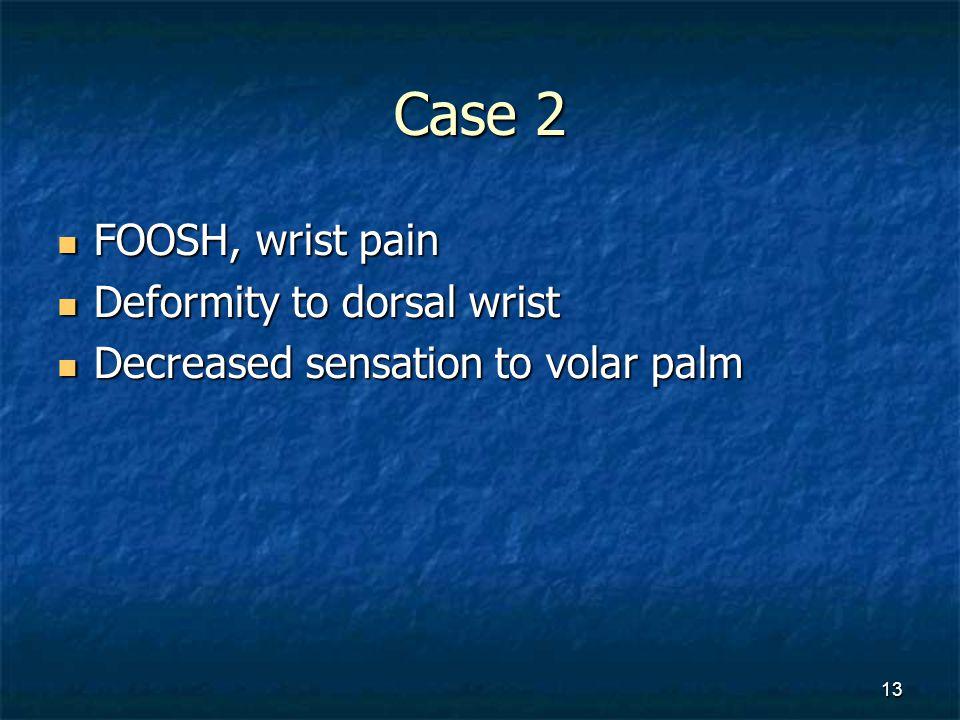 Case 2 FOOSH, wrist pain Deformity to dorsal wrist