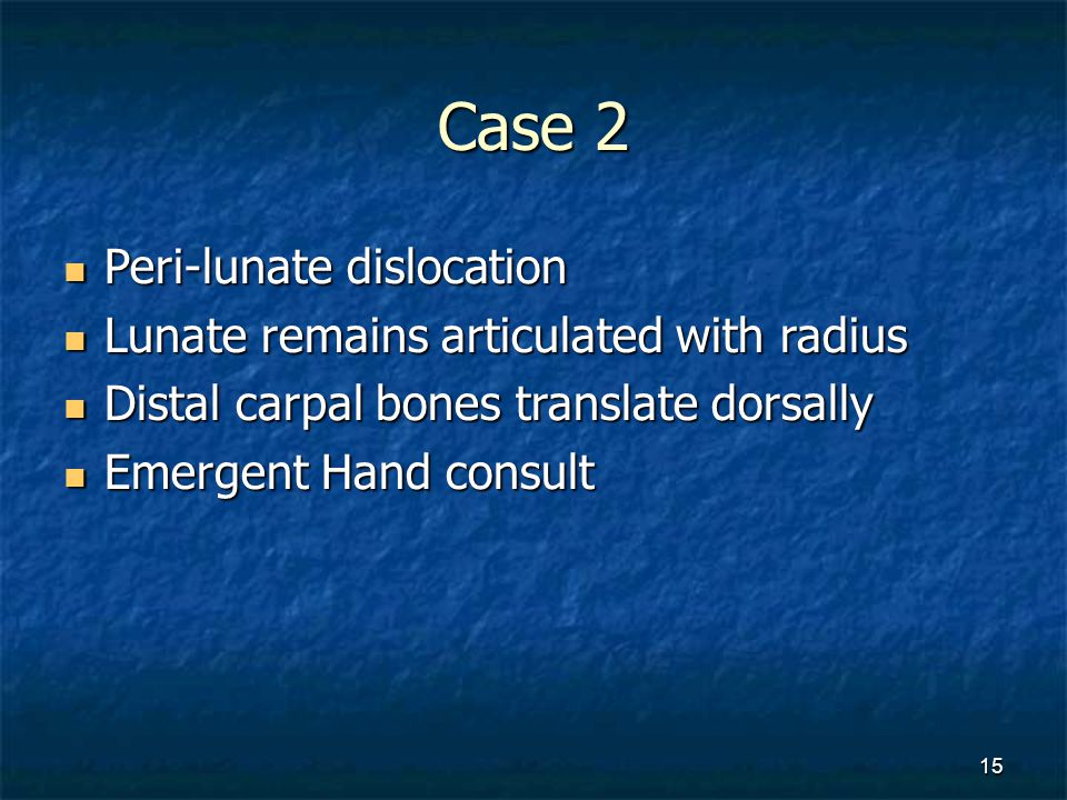 Case 2 Peri-lunate dislocation Lunate remains articulated with radius