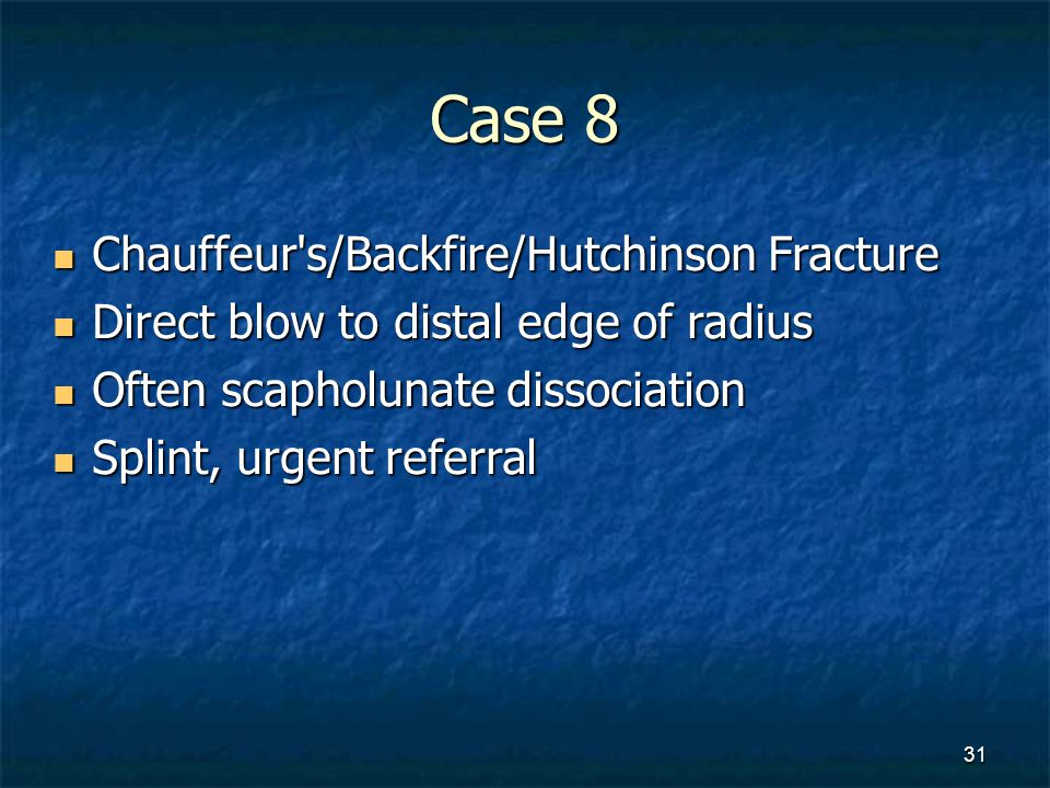 Case 8 Chauffeur s/Backfire/Hutchinson Fracture