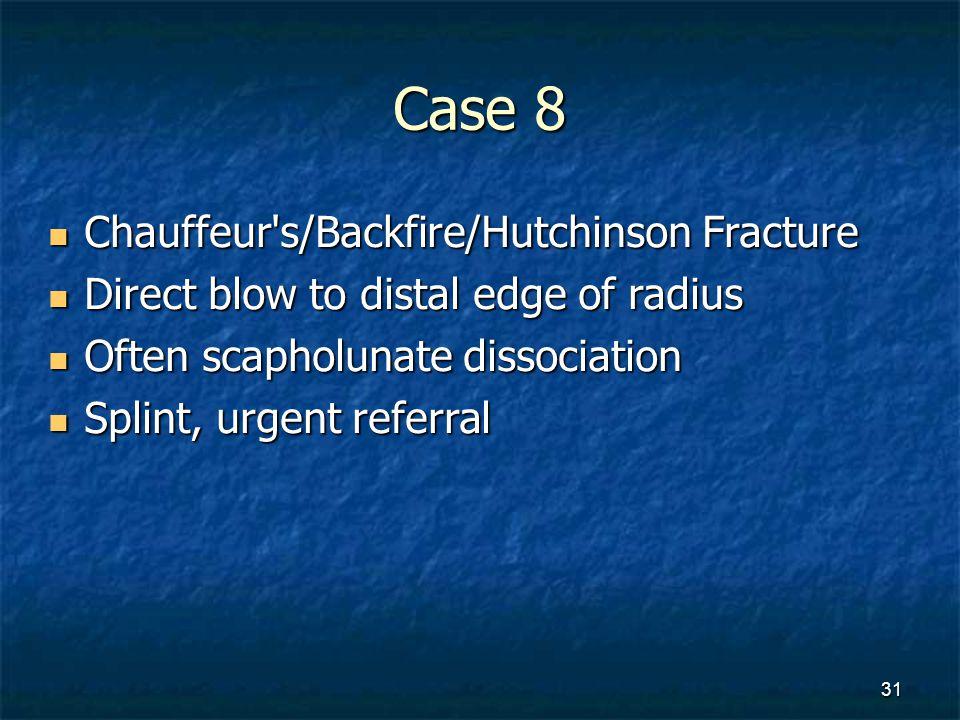 Case 8 Chauffeur s/Backfire/Hutchinson Fracture
