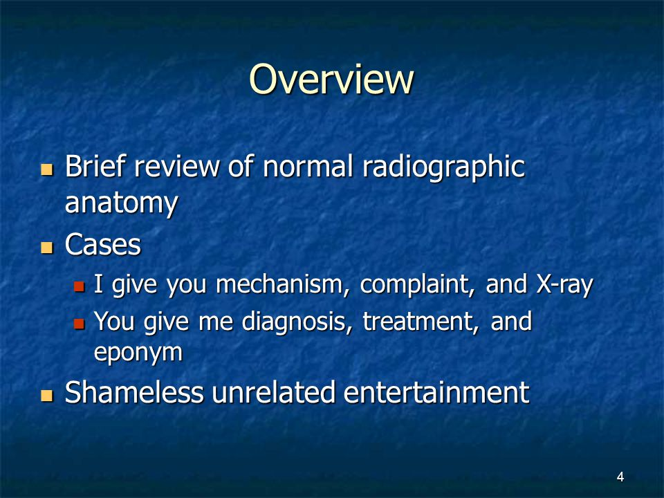 Overview Brief review of normal radiographic anatomy Cases
