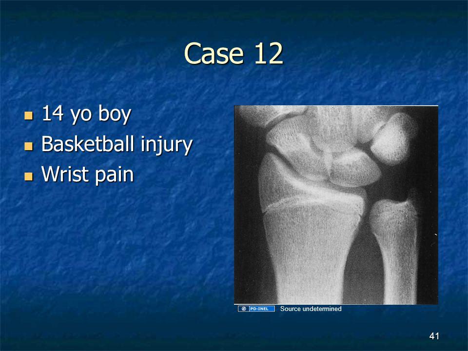 Case 12 14 yo boy Basketball injury Wrist pain Source undetermined