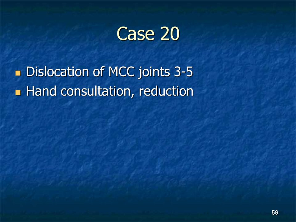 Case 20 Dislocation of MCC joints 3-5 Hand consultation, reduction