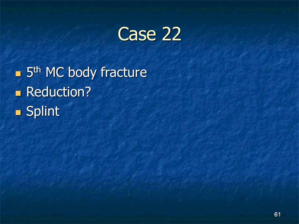 Case 22 5th MC body fracture Reduction Splint