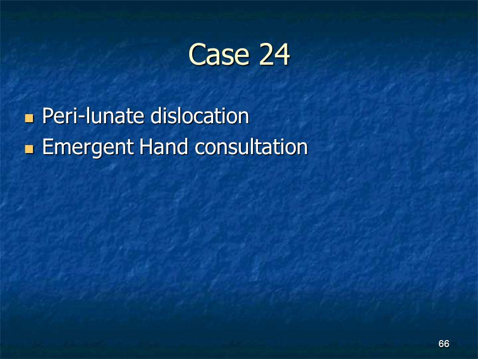 Case 24 Peri-lunate dislocation Emergent Hand consultation