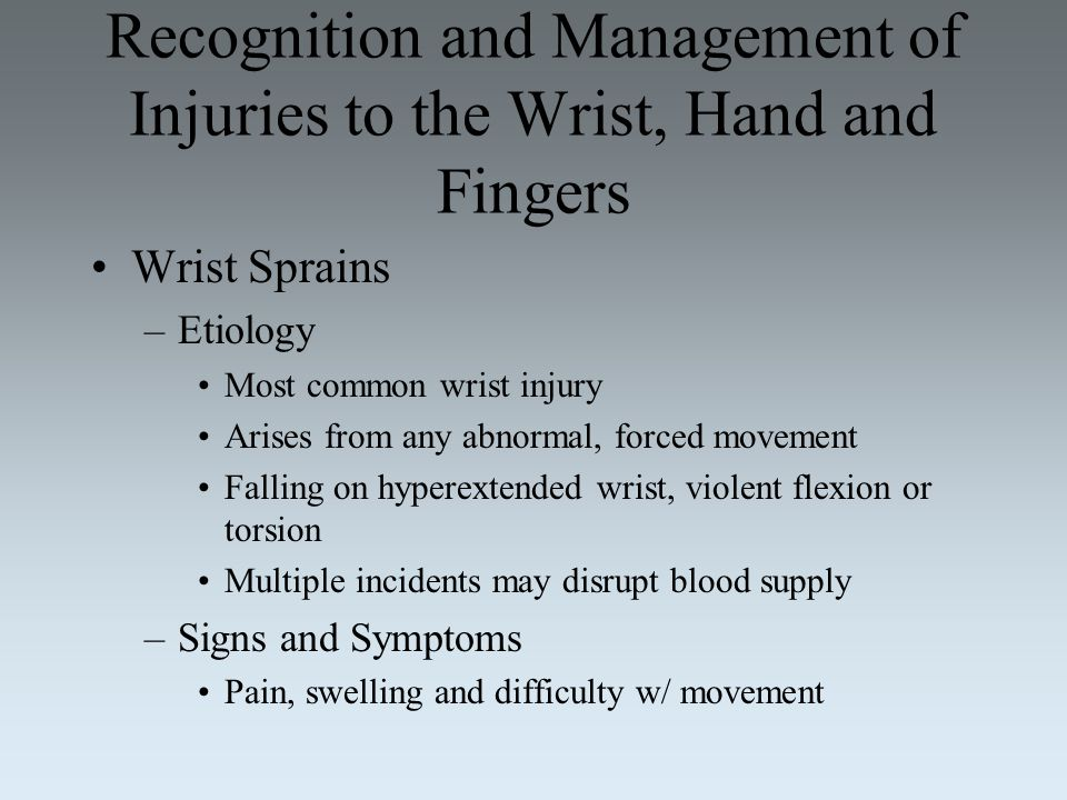 Recognition and Management of Injuries to the Wrist, Hand and Fingers