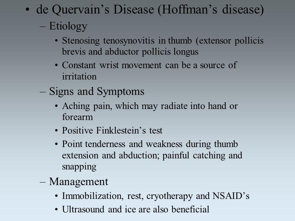 de Quervain's Disease (Hoffman's disease)