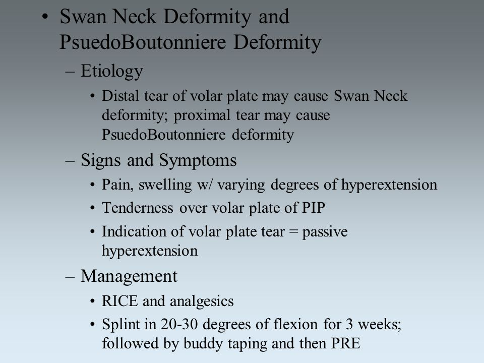 Swan Neck Deformity and PsuedoBoutonniere Deformity