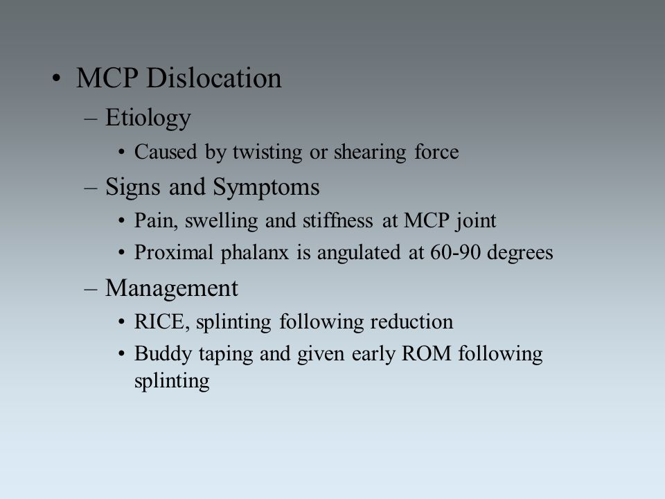 MCP Dislocation Etiology Signs and Symptoms Management
