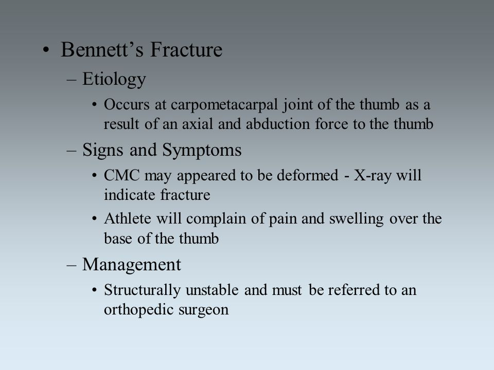 Bennett's Fracture Etiology Signs and Symptoms Management