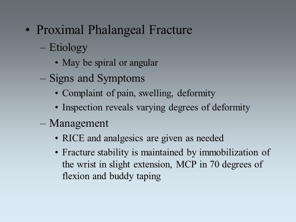Proximal Phalangeal Fracture
