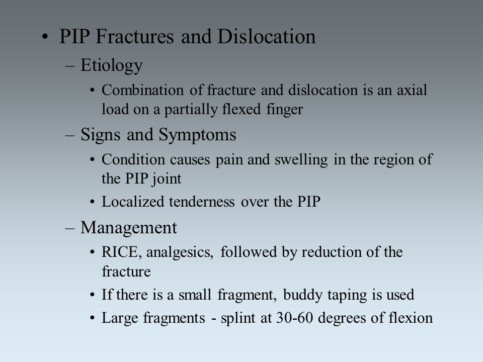 PIP Fractures and Dislocation