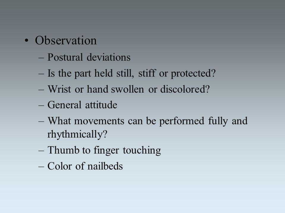 Observation Postural deviations