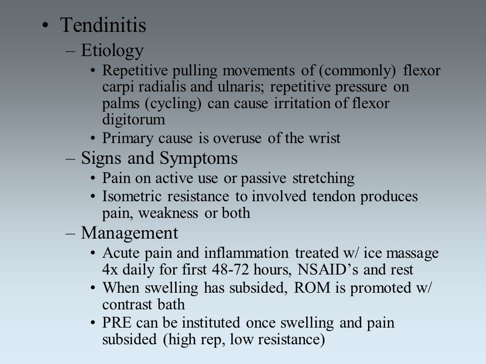 Tendinitis Etiology Signs and Symptoms Management