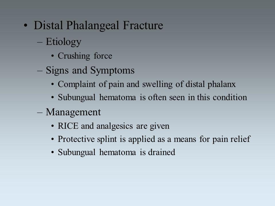 Distal Phalangeal Fracture