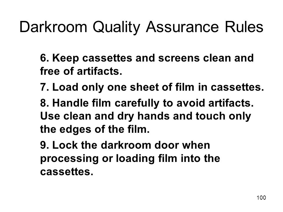 Darkroom Quality Assurance Rules