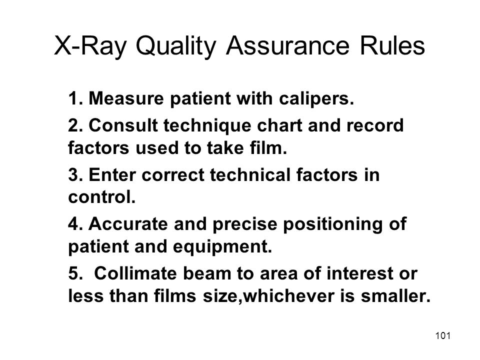 X-Ray Quality Assurance Rules