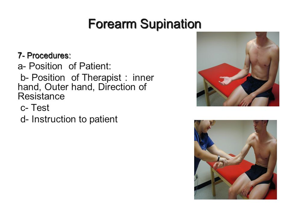 Forearm Supination a- Position of Patient: