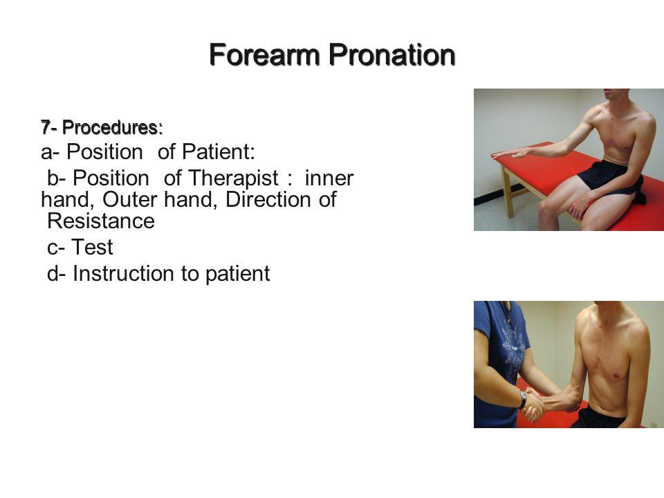 Forearm Pronation a- Position of Patient: