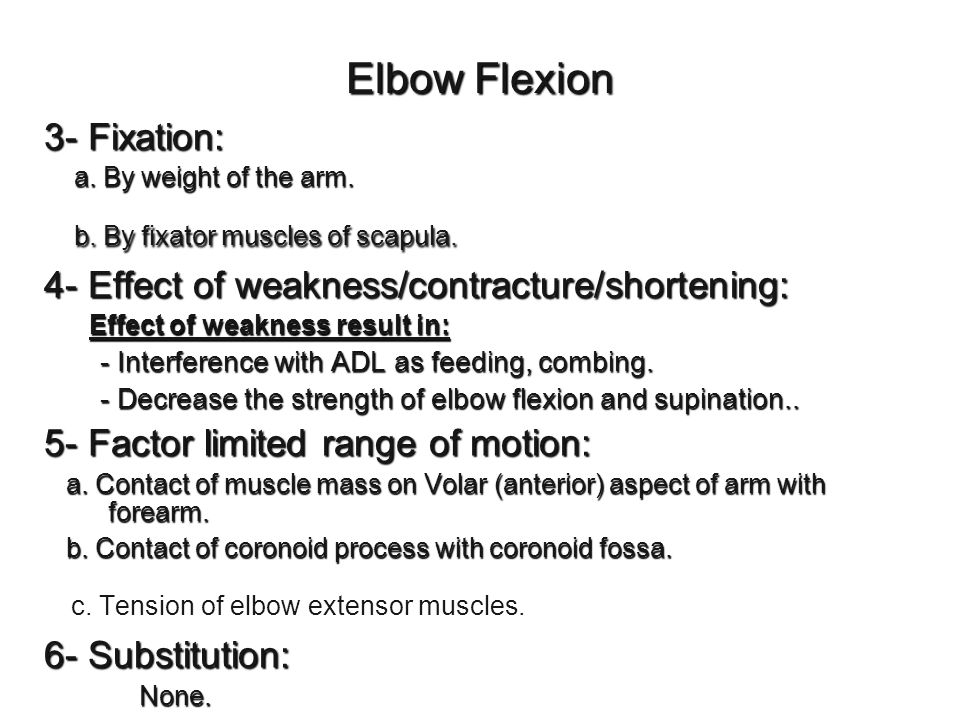 c. Tension of elbow extensor muscles.