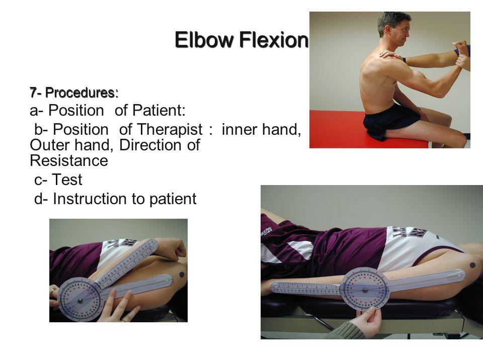 Elbow Flexion a- Position of Patient: