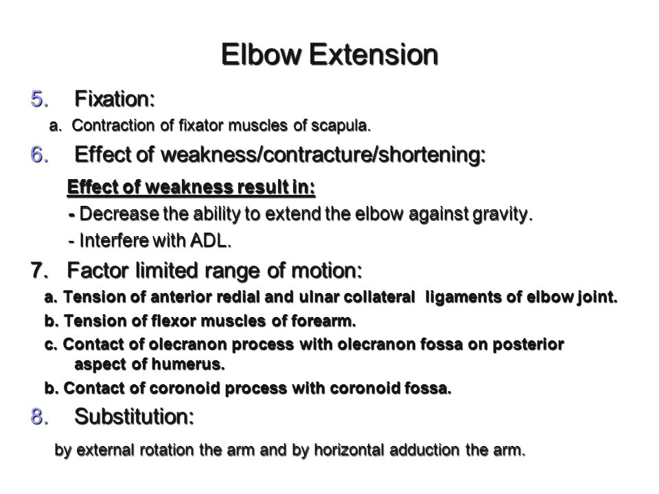 Elbow Extension Fixation: Effect of weakness/contracture/shortening: